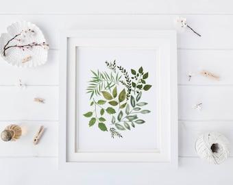 Leaf painting, leaf art, minimalist art