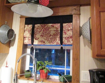 "MOCK ROMAN SHADE Hidden Rod Pocket valance with ties, fits 43""- 60"" window, stationary hobbled shade, Your fabrics, my labor and lining"