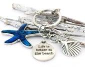 Starfish Keychain, Beach Keychain, Car Accessories, Shell Keychain, Purse Charm, Nautical Keychain, Quote Keychain, Valentine Gift