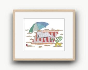 French Bulldog Art, White French Bulldog, French Bulldog Gift, Frenchie, 14 x 11