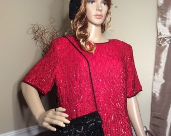 Vintage Stenay Red Sequined Plus size Party Dress