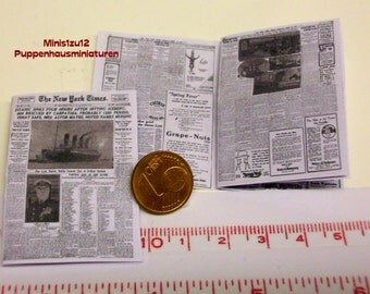 "2006# New York Times 1912 ""Titanic"" - Newspaper for doll houses in scale 1/12"