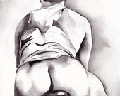 "PRINT of Original Art Work Watercolor Painting Gay Male Nude ""Bicyclist"""