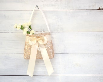 Flower Girl Basket - Champagne Sequin with Ivory Ribbon - Flower Girl Bag, Girls Purse, Champagne Flower Girl, Sequin Flower Girl Basket