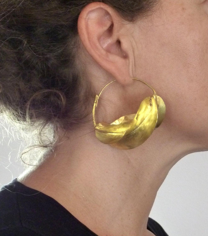 Fulani Earrings: Big Fulani Brass Earrings From West Africa African Tribal