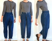 Front Seam Dark Wash Vintage 80's Tapered // Pleated Front // Lizwear (Size 6/7)