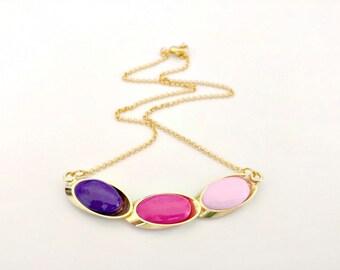 Gold Ellipse Necklace/ Big Gold Pendant Necklace/ Pastel Necklace/ Geometric Necklace/ Colorful Necklace - Rome