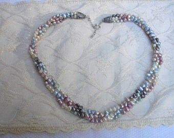 Multicolored Freshwater Pearls 3 Strand Necklace