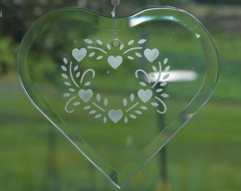 Beveled Etched Glass Heart Sun Catcher