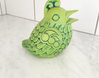 Retro Bird Figurine, Lime Green Bird, 1960s Bird Decor, Green Ceramic Bird, Vintage Bird Decor, MCM Bird