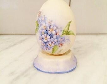 Blue Violet Egg, Vintage Egg, Hand Painted Egg, Vintage Easter Decor, Easter Egg, Forget Me Not
