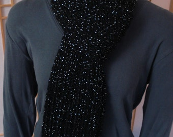 Black Ribbed Sparkle Scarf