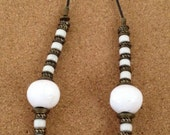 striking white chunky beaded and brass disc necklace