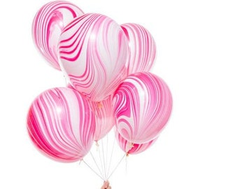 """11"""" Marbled Balloons in pink red and white for unique party decorations"""