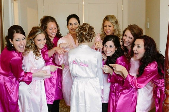Custom Embroidered Bride Robe with Mrs. Name with Custom Colored Thread Bridal Shower Gift