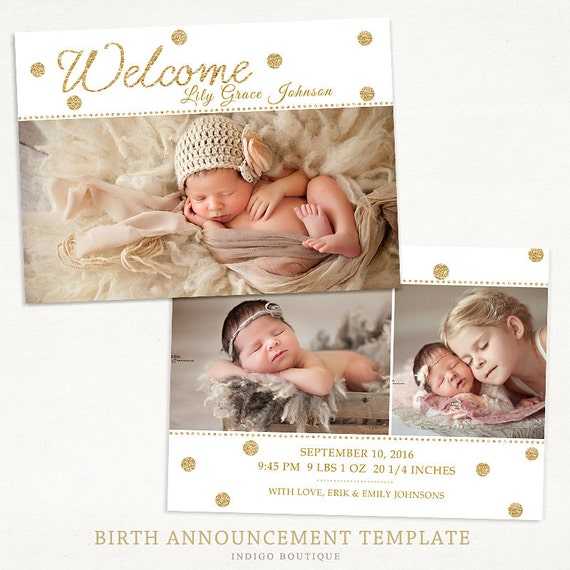 birth announcement template for photographers 5x7 photo card