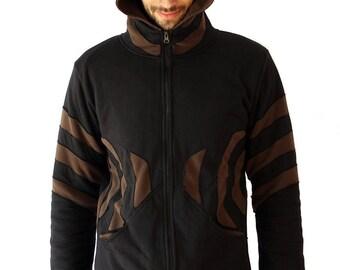 Men's Pixie Jacket - Goa Style Men's hoodie - Slashes Jacket- Psy Trance - Burning man