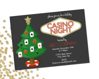 Holiday Party Invitation - Company Casino Holiday Party - Company Party - Casino Night - Christmas Party - Printable