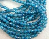 4mm Czech Glass Fire Polished Beads - Two-Tone Capri and Light Blue (FP090) - Qty 50