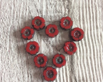 8mm Red Table Cut Flat Hawaiian/Pansy Beads Picasso Finish x 10