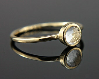 White Topaz Ring 14k Yellow Gold Rose Cut White Topaz Gold Ring Size 7 Alternative Engagement Ring White Topaz Engagement Ring