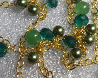 beaded chain necklace, jade necklace, green crystal necklace, green pearl necklace