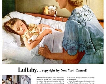 1952 New York Central System Advertisement Ad Print Poster Train Station Locomotive Boys Girls Lullaby Bedtime Story Wall Art 50s Home Decor