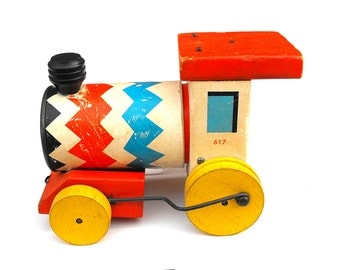 1950s Fisher Price Whistling Engine Vintage Chevron Train Wooden Zig Zag Pull Toy Childrens Kids Engineer Rolling Red White Blue Yellow Gift
