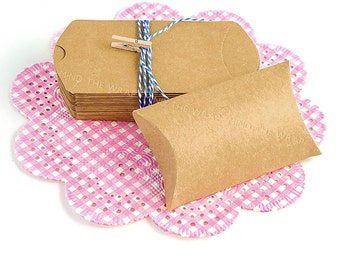 50 - Small Kraft Pillow Boxes  2-1/8 x 3-1/4 x 7/8 inches - Cute Product Packaging, Wedding Party Favors, Gift Card Holder