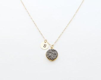 Initial Heart Druzy Bridesmaid Necklace, Gold Initial Necklace, Personalized Necklace, Bridesmaid Gift, Initial Necklace, Bridesmaid Jewelry