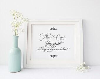 """Leaf Your Fingerprint Sign 5x7"""" DIY Wedding Poster Printable"""