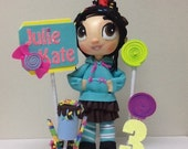 vanellope centerpiece -  Vanellope von Schweetz -  Wreck-It Ralph - sugar rush - fofucha doll Birthday centerpiece