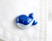 Cute Blue Whale Pin - Whale Brooch - Handmade Polymer Clay Pin - Cute Animal Pin - Clutch Back Pin