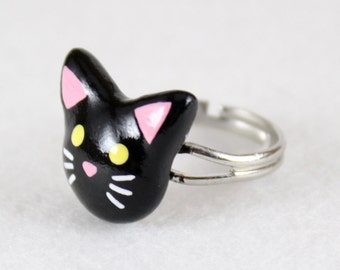 Cute Black Cat Ring - Polymer Clay Ring - Kitty Ring - Black Cat Jewelry - Animal Ring - Silver Plated, Nickel Free, Lead Free Ring