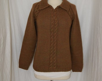 Vintage Dark Mustard Tweed Hand Made Cable Knit Sweater - Women's M / Men's XS to S
