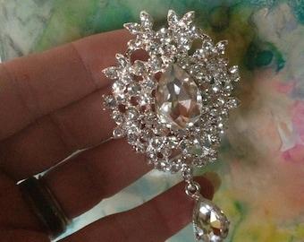 Dangling Silver Tone Rhinestone Flatback Embellishment or Pin Clear Rhinestone Broach Crystal Brooch Small Drop Brooch DIY Headband  SC25