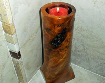 natural edge wood log tea light candle holder, wood log candle holder