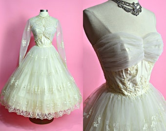 "1950's Vintage Off White Embroidered Tulle and Satin Wedding Gown with Matching Bolero Grace Kelly Evening Gown Xsmall 24"" Waist"