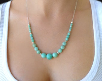Amazonite Necklace, Chunky Gemstone Necklace, Amazonite Jewelry, Mint Statement Necklace, Mint Bridesmaid Jewelry, Seafoam Green Necklace