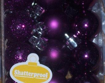 27MM dark purple mini balls,approx 1 inch round,shatterproof Christmas balls,24/pkg,glittered,shiny and matte finish,wreath embellishment