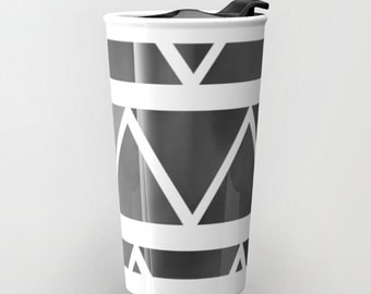 Black Travel Mug Ceramic - Black to Gray Ombre Triangles Coffee Travel Mug - Hot or Cold Travel Mug - 12oz Travel Mug -Made to Order