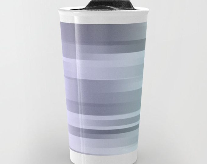 Travel Mug Ceramic - Blue Gray Purple - Coffee Travel Mug - Hot or Cold Travel Mug - 12oz Travel Mug -Made to Order