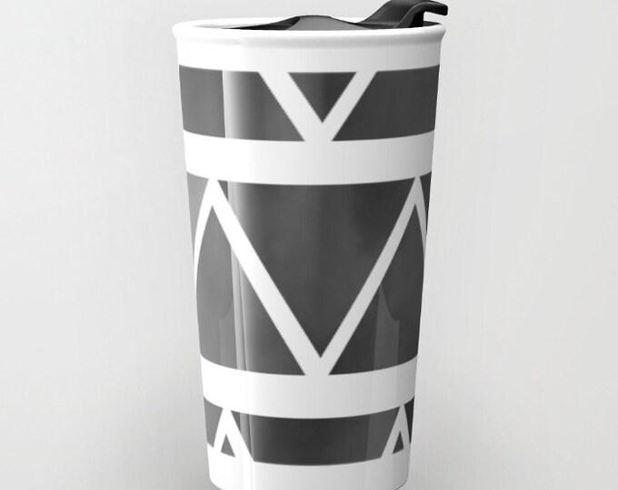Black Travel Mug Ceramic - Black to Gray Ombre Triangles Coffee Travel Mug - Hot or Cold Travel Mug - 12oz Travel Mug -Made to Order