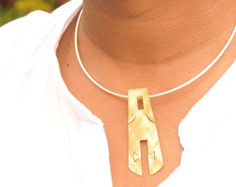 Winy Statement Pendant Handmade in the  UK Kipenzi African Mask Spirit Range in Brass