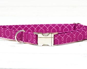 Female Dog Collar, Purple, Girl, Silver, Metal Hardware