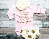 Baby Girl Clothes Baby Christmas She Leaves A Little Baby Shower Gift Bodysuit Baby Girl Shirt New Baby Gift *Bodysuit Only* #67