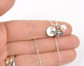 Bee Necklace - Tiny Sterling Silver Honey Bee Necklace - Bumble Bee Necklace - Bee Jewelry - Bee Charm - Silver Honey Bee - Bumble Bee Charm