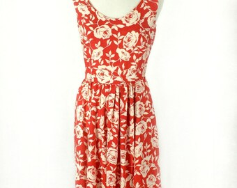 Red Rose Floral Fit and Flare Dress (Plus Size Available)