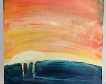 sunset: colorful abstract canvas painting