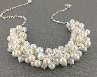Pearl Cluster Necklace, White and Ivory Cluster Pearl Necklace, Chunky Pearl Necklace, Pearl Bridal Jewelry, Bridal Necklace, Pearl Jewelry